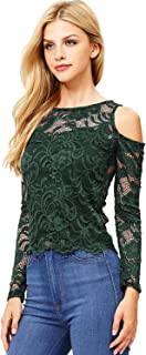 Ambiance Apparel Women's Juniors Long Sleeve Lacey Crop Top