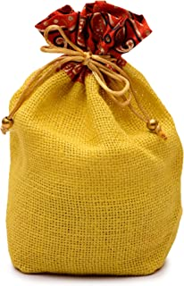 Minimal Affairs Color-Pop Yellow Natural Jute Potli Bag for Wedding, Diwali Gift Pouches, Gift Bags for Return Gifts Bags,...