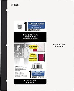Five Star Bound Notebook with Pocket, 1 Subject, College Ruled Paper, 80 Sheets, 11