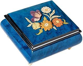 Dark Blue Butterfly Italian Hand Crafted Inlaid Elm Wood Musical Box Plays Tune Blue Danube Waltz