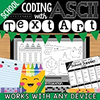 Coding with ASCII Text Art for Any Device: School Themed Keyboard Practice (10 Challenges)