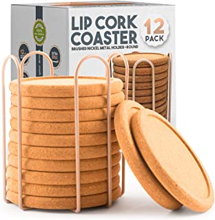 Lip Cork Coasters with Gold Holder | Absorbent Table Rustic Drink Round Cork Suitable for Bar Outdoor and Indoors | Furnit...