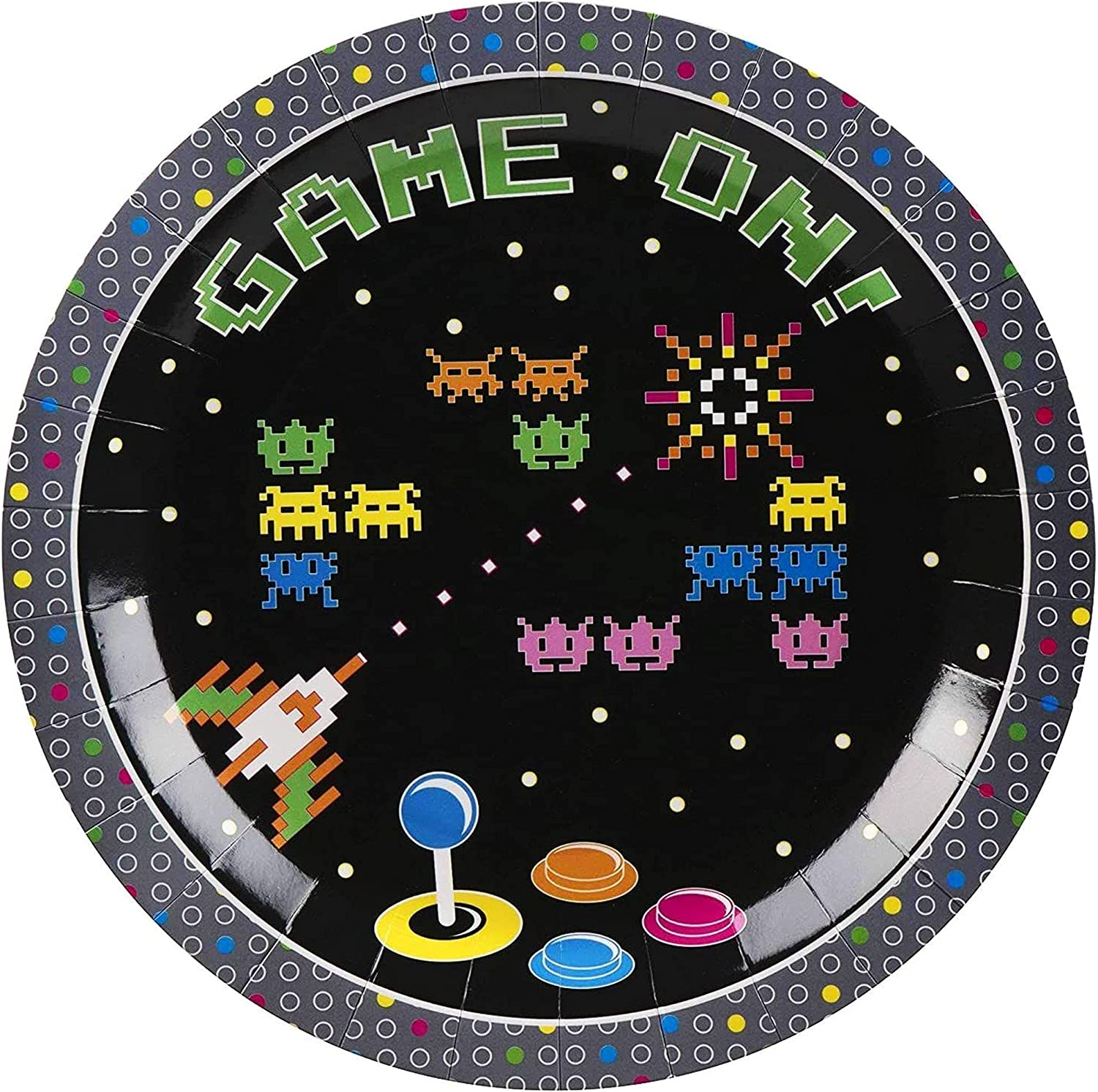 20s Arcade Party Plates   20 Pack Gaming Themed 20 Inch Disposable ...