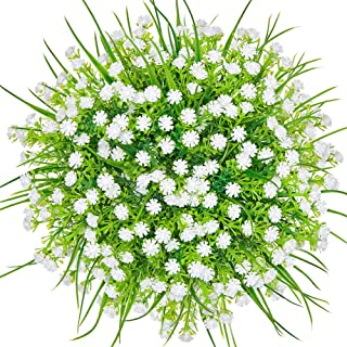 CQURE Artificial Flowers, Fake Flowers Artificial Babys Breath Bridal Wedding Bouquet for Home Garden Party Wedding Decoration 5 Bunches (White)