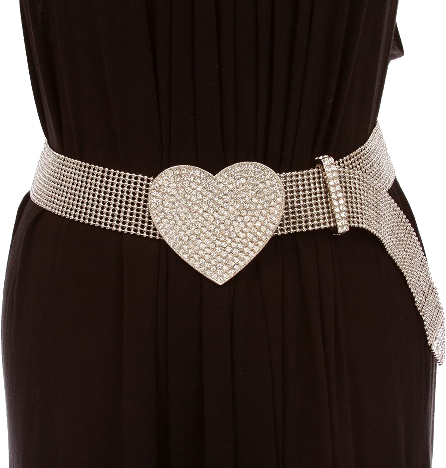 1 1 2  Rhinestone Encrusted Heart Mesh Metal Ball Chain Belt, silver w clear stone   one size up to 36