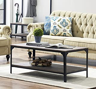 O&K Furniture Rustic Rectangular Coffee Table with Open Bottom Shelf, Industrial Cocktail Table for Living Room, Gray-Brown,1-Pcs