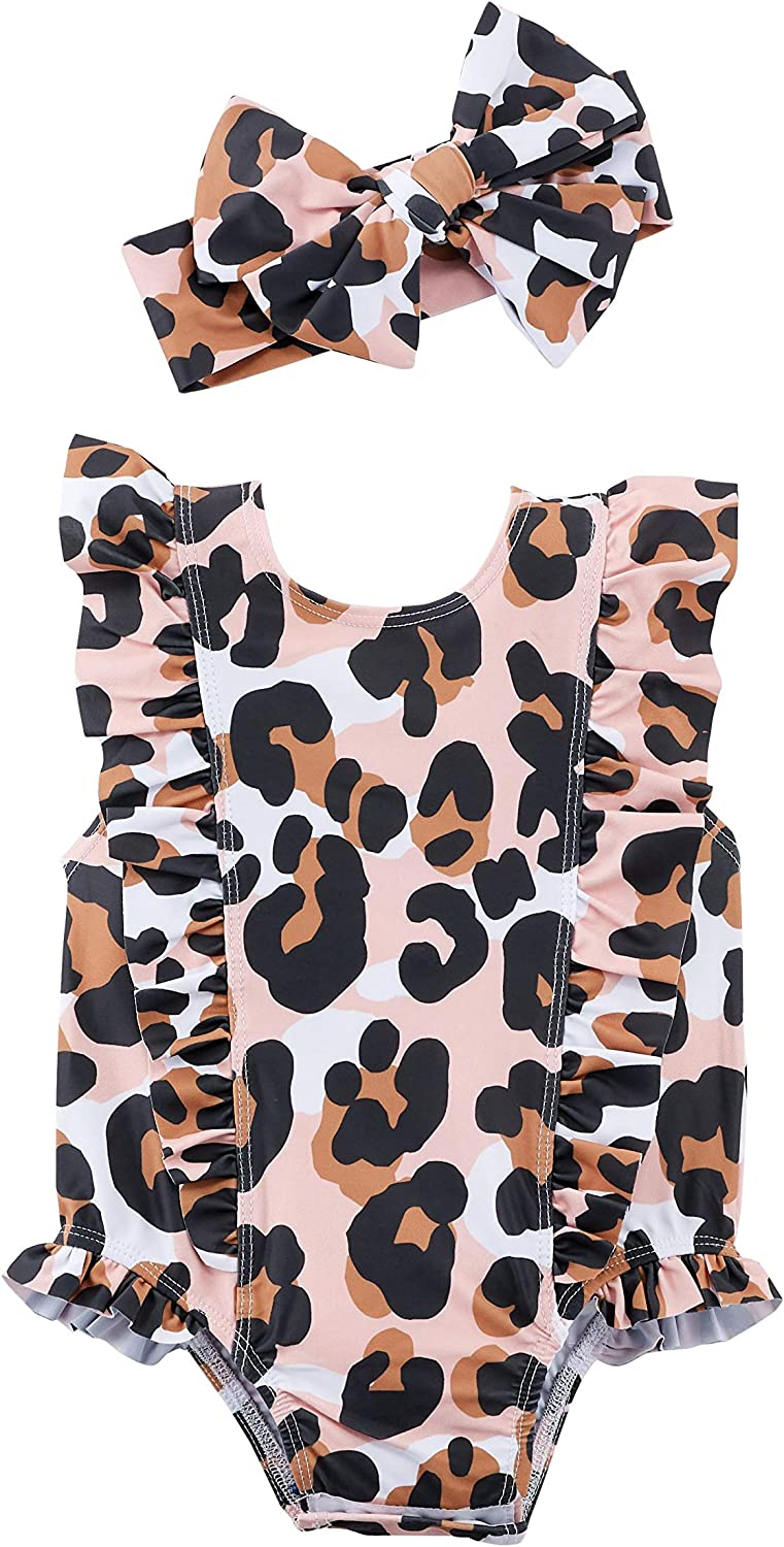 Mud Pie Girls' Leopard Swimsuit and Headband: Clothing, Shoes & Jewelry