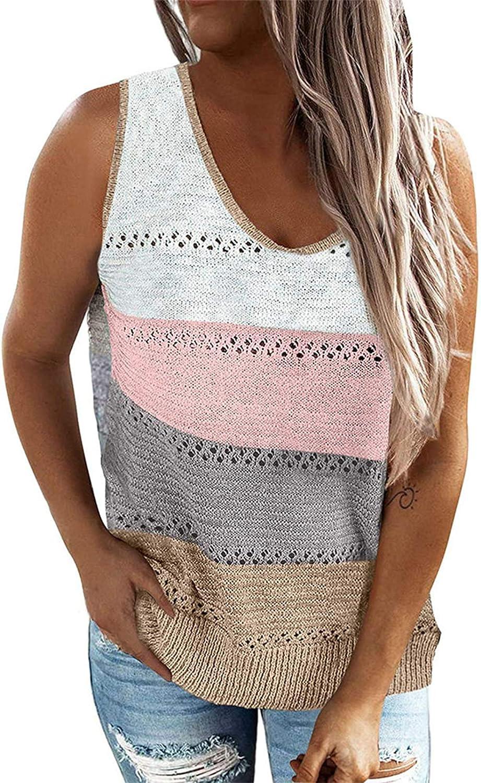 N / C Women 's Fashion Vest Tops Contrast Color Stitching Vest Summer V-Neck Hollow Split Loose Sleeveless Tops