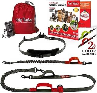 TAKE YANKEE Hands Free Dog Leash + Training Running Walking Leash & Double Leash Set, Fits 2 Dogs + Reflective Leash • Adjustable Waist Belt + Strong Bungee Leash + Poop Bag Holder