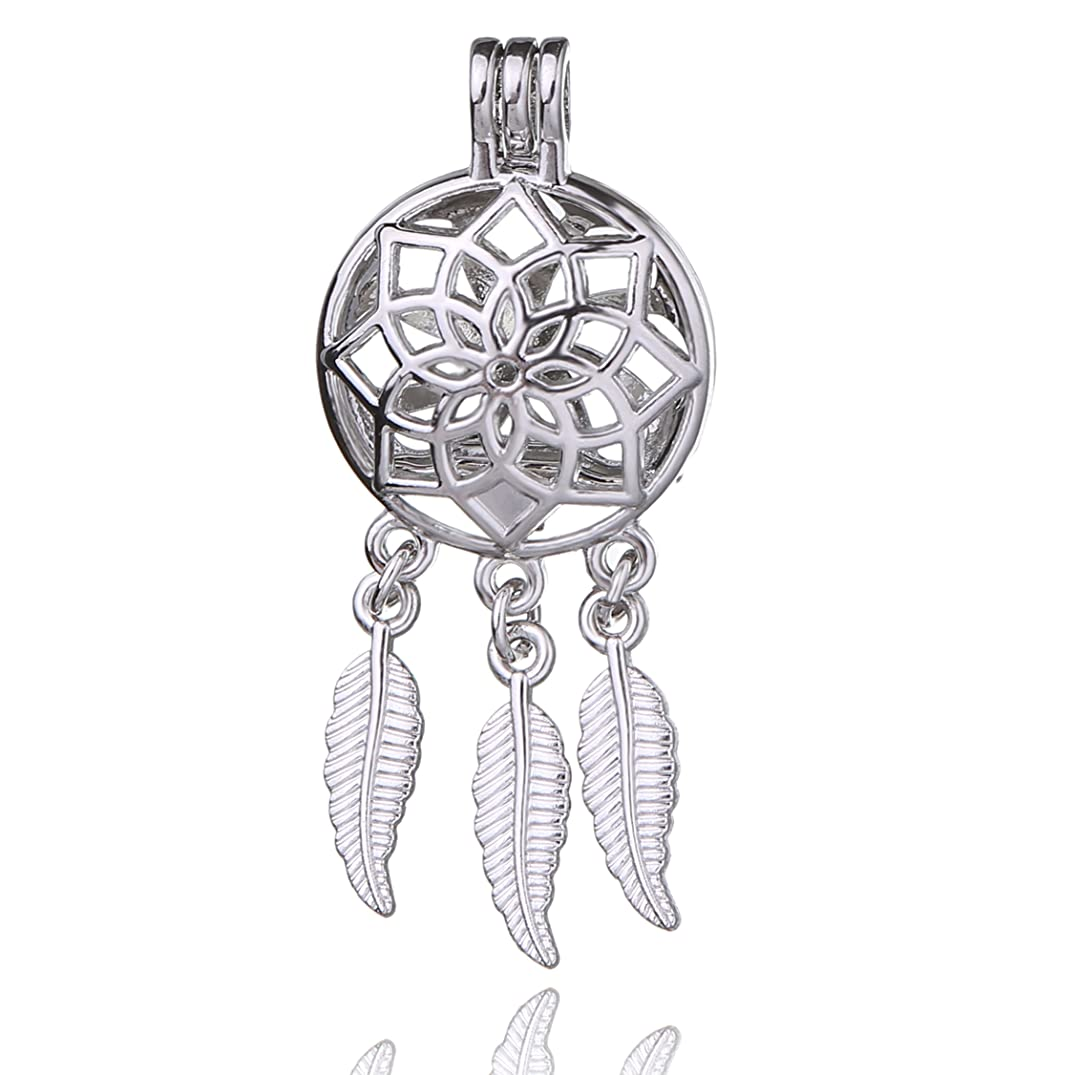 Fantasy 8pcs Platinum Plated Hollow Pearl Bead Cage Pendant Essential Oil Scent Diffuser Pendant Necklace Jewelry Making Supplies (Dream Wish Catcher)