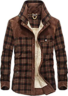 Men's Outdoor Casual Vintage Long Sleeve Plaid Flannel Button Down Shirt Jacket