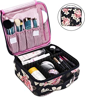 Makeup Bag Travel Cosmetic Bag for Women Nylon Cute Makeup Case Large Professional Cosmetic Train Case Organizer with Adjustable Dividers for Cosmetics Make Up Tools Toiletry Jewelry,Dark Blue Peony