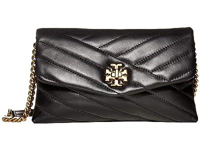 Tory Burch Kira Chevron Chain Wallet (Black) Wallet Handbags