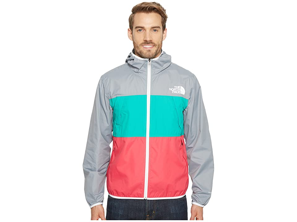 The North Face Telegraph Wind Jacket (Mid Grey/Spectra Green/Raspberry Red) Men