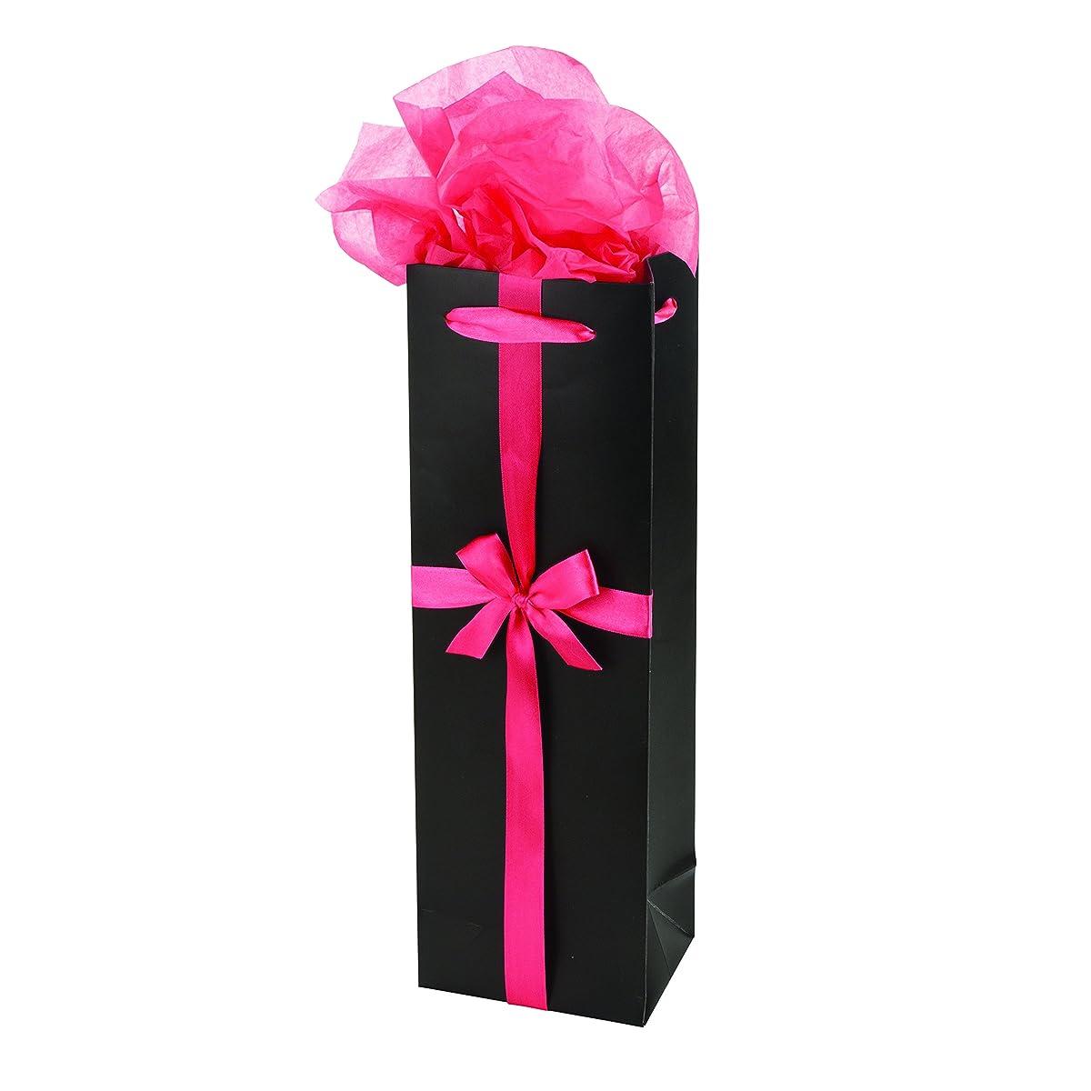 Cakewalk Single Bottle Paper Wine Gift Bag, Black/Pink