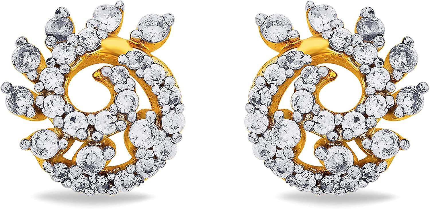 3djewels Women's 0.17Cts Round Simulated Diamond Studded Snail Earring 14K Yellow gold Plated