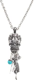 Charm Dangling Sugar Skull Pendant Long Necklace 30 inch / 76cm