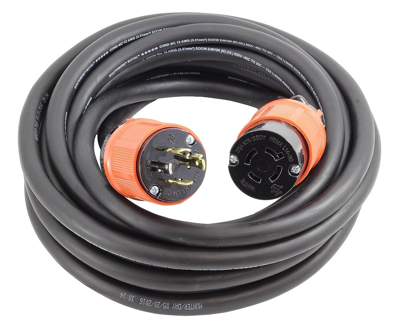 AC WORKS NEMA L14-20 Rubber SOOW 12/4 Extension Cord (10FT)
