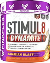 Stimul8 DYNAMITE, Explosive Preworkout for Men and Women, Continuous Clean Energy for Hours, Increase Performance, Strength, Pumps, 30 Servings (Hawaiian Blast)