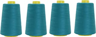 Mandala Crafts All Purpose Sewing Thread from Polyester for Serger, Overlock, Quilting, Sewing Machine (4 Cones 6000 Yards Each, Teal)