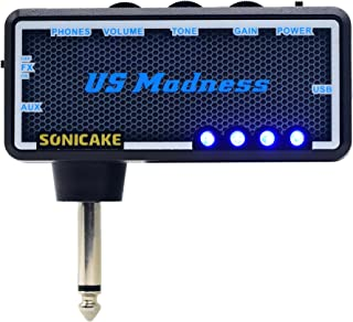 SONICAKE Guitar Bass Headphone Amp Plug-In US Madness w/h Chorus & Reverb Effects & Vintage Clean Tone (USB Chargable, Fit on Strat)