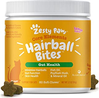Zesty Paws Hairball Bites for Cats - Cat Furball Control - Functional Supplement with Omega 3 Fish Oil EPA & DHA + Mineral...