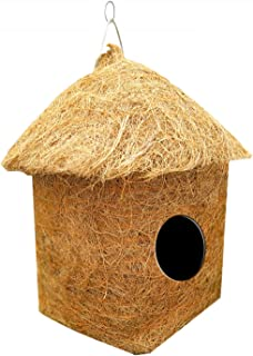 LIVEONCE Safest Classic Hut Bird House Purely Handmade Material Type -Coir, Color -Brown, Size (L 10 x W 10 X H 15 cm), Pa...