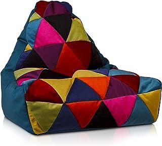 Ecopuf Keiko S Patchwork zitzak van microvezel - pluche Bean Bag met draaggreep - 75x70cm
