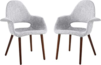 Phoenix Home Chinook Arm Chair with Patterned Twill Fabric Upholstery, Set of 2, Winter Grey