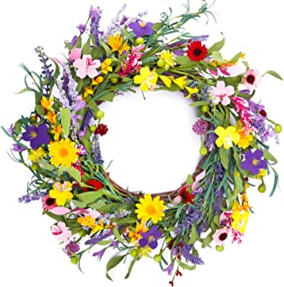 CEWOR 20 Inches Lavender Daisy Flower Door Wreath with Springtime Faux Flowers and Berris Front Door Wreath for Spring and...