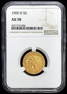 1909 d $5 indian head gold coin