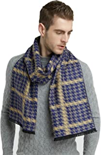 Blue Houndstooth Brushed Warm Soft Cashmere Feel Men's Scarf Cold Winter