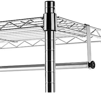AmazonBasics Double Hanging Rod Garment Rolling Closet Organizer Rack, Chrome - 72 Inch Height