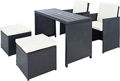Safavieh Outdoor Collection Dranda Rattan Cushion 5-Piece Patio Backyard Dining Set PAT9023A, Black/Beige