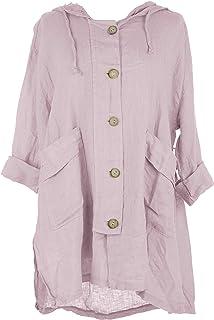 TEXTURE Ladies Womens Italian Lagenlook 2 Pocket Wooden Button Tie Ruched Back Hood Linen Jacket One Size