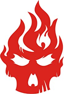 CUSHYSTORE Skull on Fire Flame Evil Retro No Fear Mad Ghost Reflective Decals Sticker Vinyl for Car Helmet Motorcycle Laptop 6