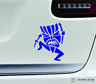 Tiki witch doctor 3.9x4.7 blue hawaiian hawaii tropical united states america color sticker state decal vinyl - Made and Shipped in USA