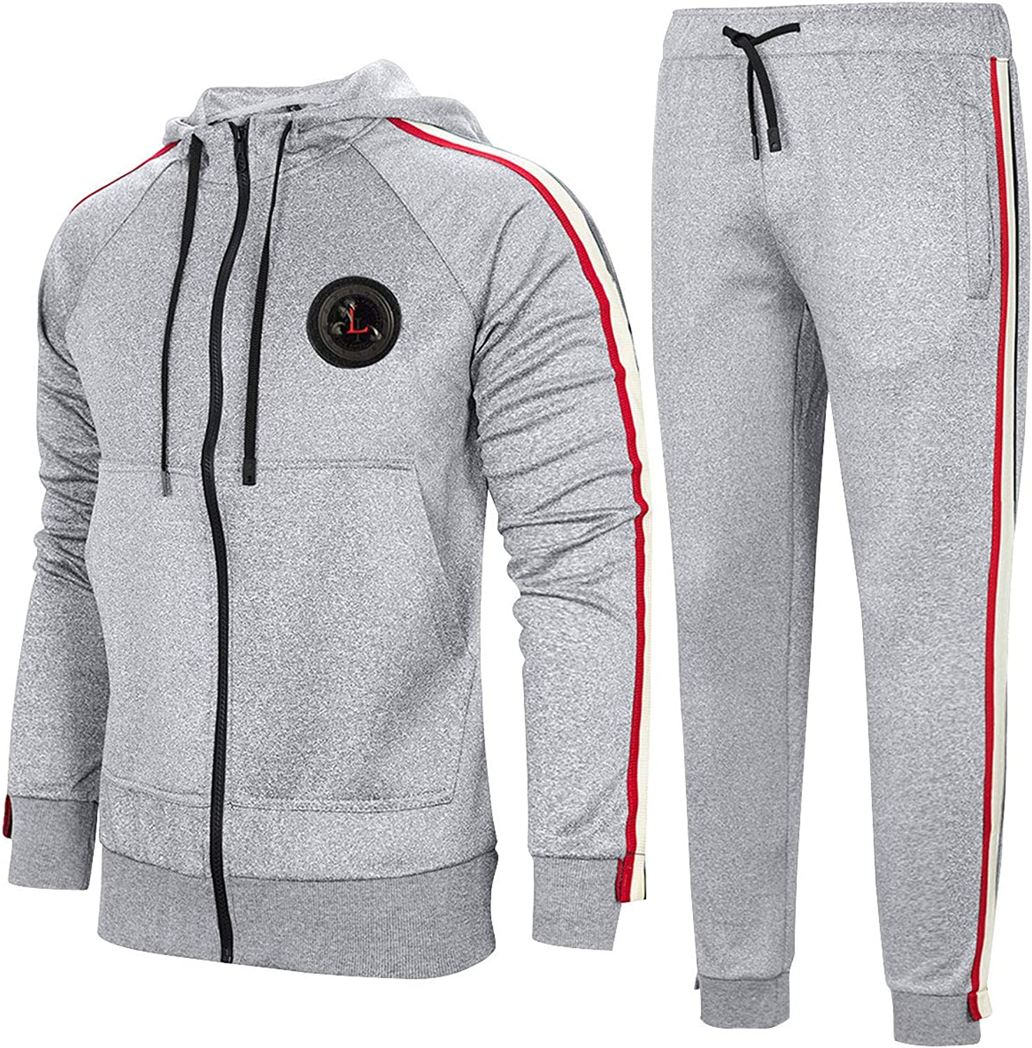 Aeneontrue Men's Tracksuit Hooded Sweat Jacket and Pants Casual Sports Suits Set