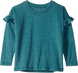 Super Soft Long Sleeve Ruffled Shoulder Dolman Tee (Toddler/Little Kids)