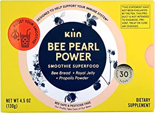 Kiin Bee Pearl Power - 100% Organic Food Supplement with Raw Bread, Royal Jelly, Propolis - Metabolism Booster & Immune Su...