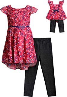 Girls' Floral Top & Legging Matching 18 Inch Doll Outfit Set