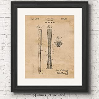Original Baseball Bat Patent Poster Prints, Set of 1 (11x14) Unframed Vintage Style Photo, Wall Art Decor Gifts Under 15 for Home, Office, Man Cave, College, Student, Teacher, Coach, MLB & Sports Fan