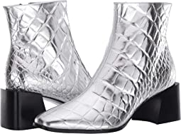 Silver Croc Print Leather