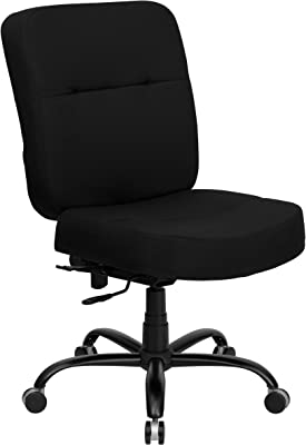 Flash Furniture HERCULES Series Big & Tall 400 lb. Rated Black Fabric Executive Swivel Ergonomic Office Chair with Rectangular Back