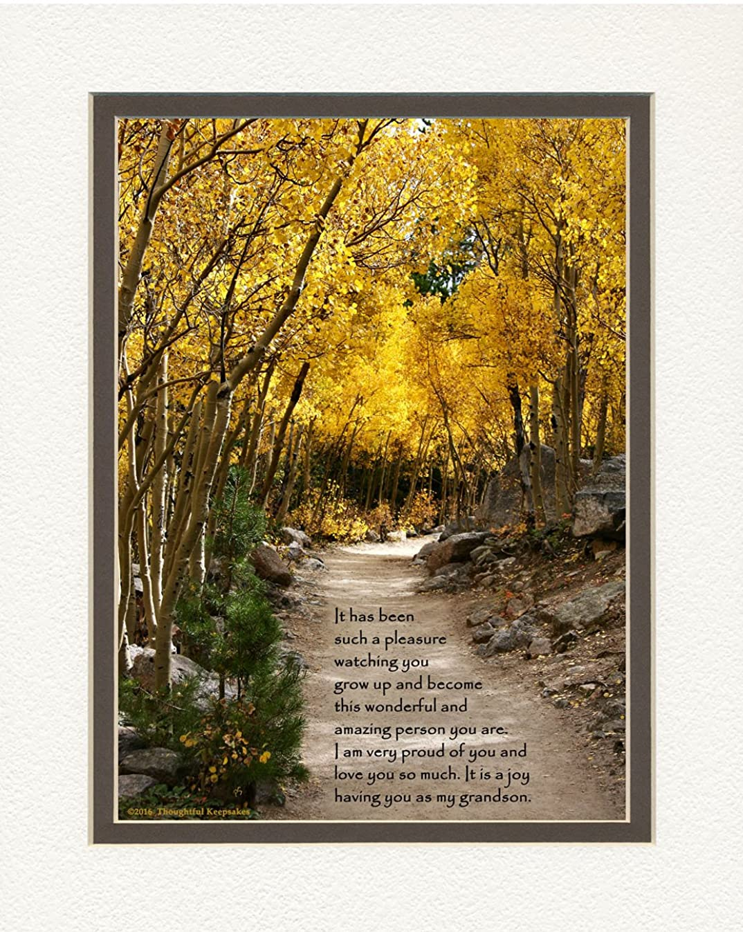 Grandson Gift with Poem Watching You Grow Up and Become This Amazing Person You Are. Aspen Path Photo, 8x10 Double Matted. Special Birthday, for Grandson.