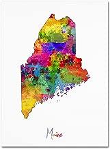 Maine Map by Michael Tompsett, 14x19-Inch Canvas Wall Art