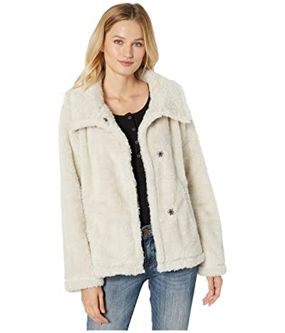 Dylan by True Grit Fleece Forever Soft Inside and Out Snap Jacket with Pockets (Stone) Women