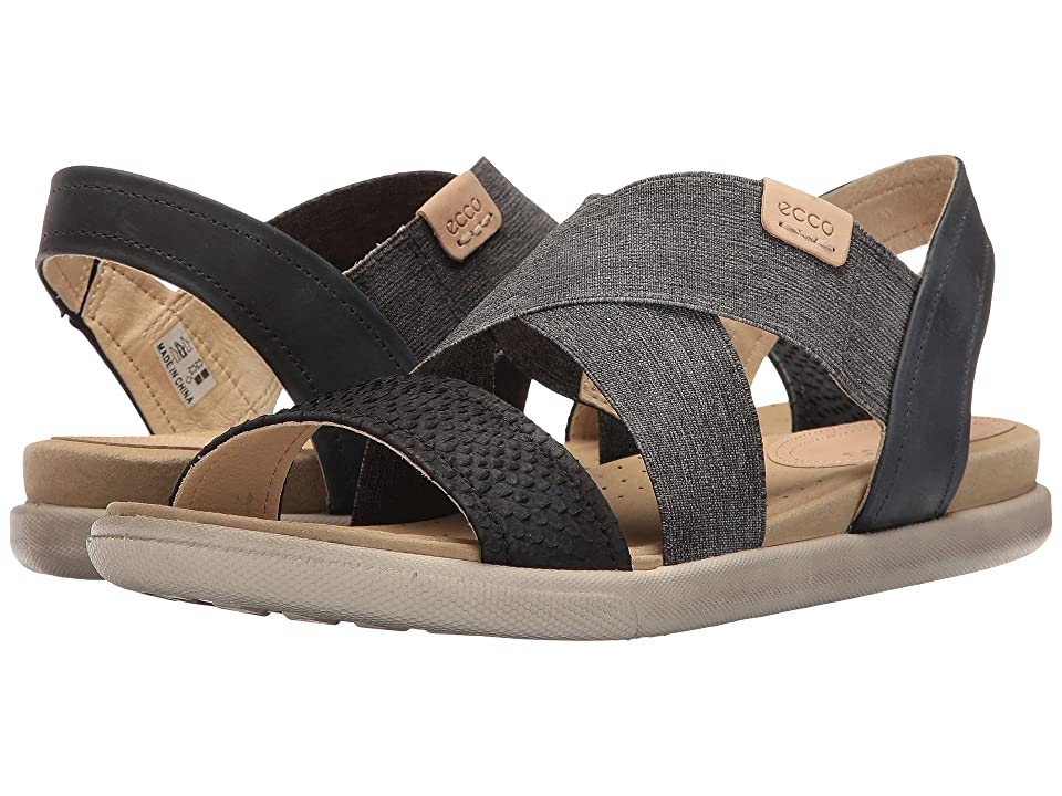 ECCO Damara 2-Strap Sandal (Black/Black/Powder Cow Nubuck) Women