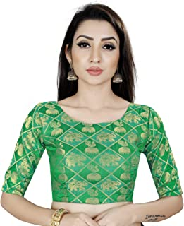 Ocean Fashion Women's Brocade And Georgette Round Neck Blue Readymade Saree's Blouses