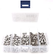 iExcell 100 Pcs M5 x 8mm/10mm/12mm/16mm/20mm Stainless Steel 304 Hex Socket Button Head Cap Screws Assortment Hex Key Wrench Kit